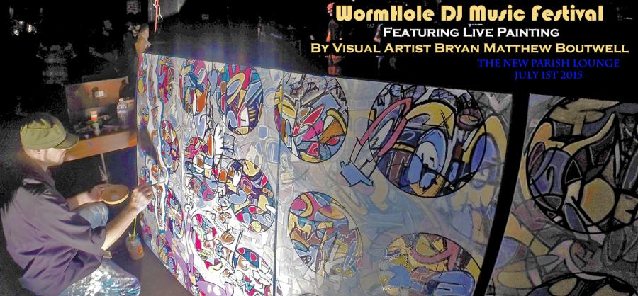 Artist Bryan Boutwell paints live at WormHole DJ Music Festival S.F. Bay