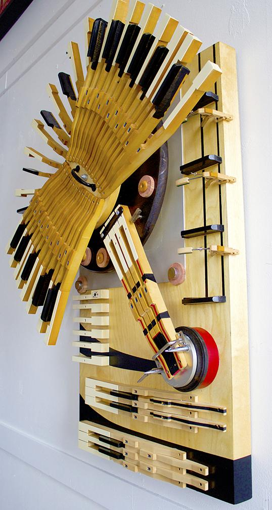 Piano Keys Sculpture #1 by artist Bryan Boutwell at the McLoughlin Art Gallery, San Francisco CA